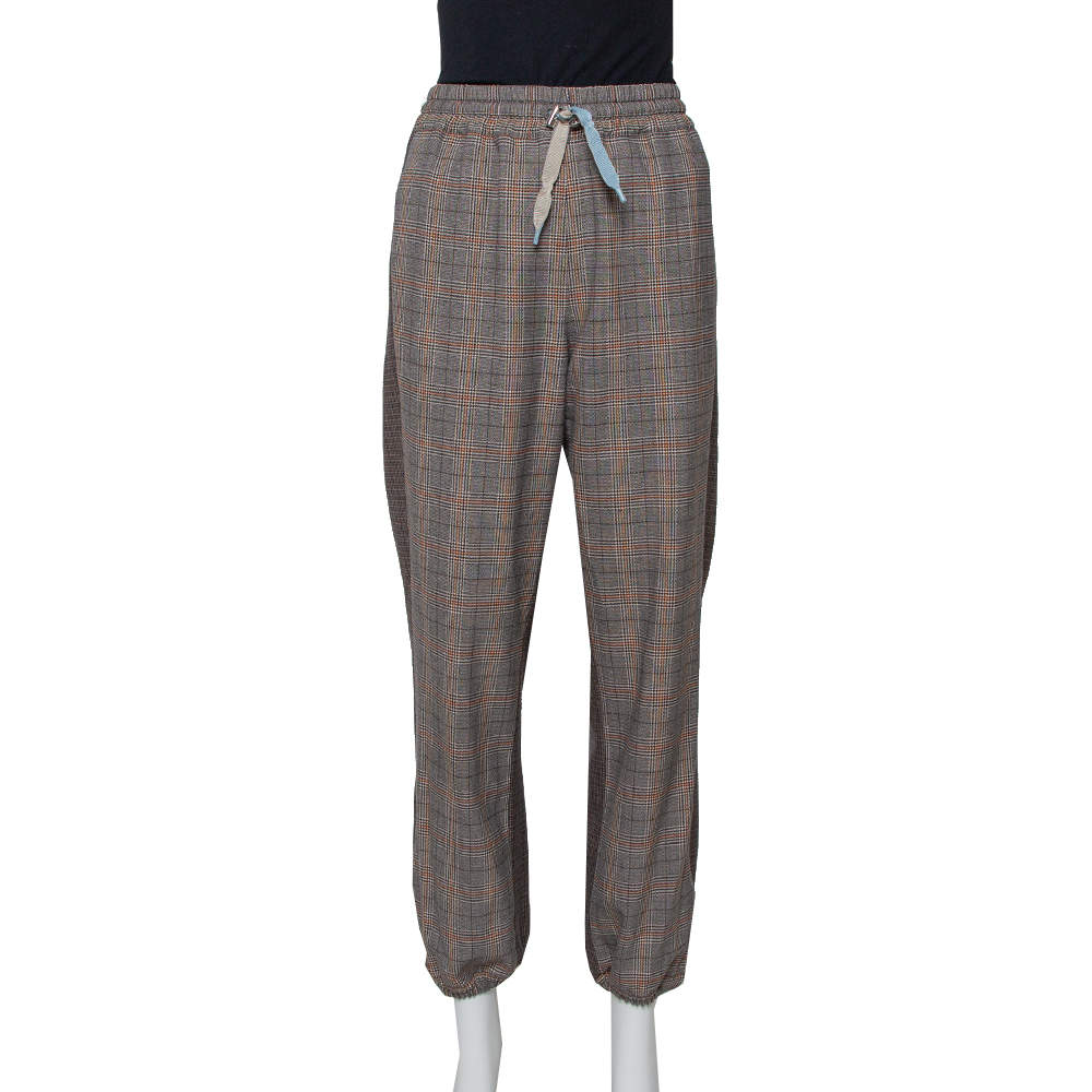Zadig and Voltaire Grey Checkered Wool Blend Parole Mix Pants M