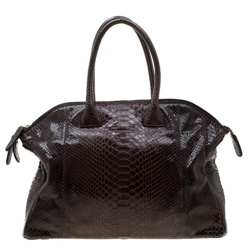 Zagliani Brown Python Tomodachi Weekender Bag