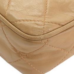 Chanel Beige Quilted Lambskin Vintage Tassel Clutch