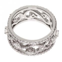 scroll diamond platinum band ring size 53