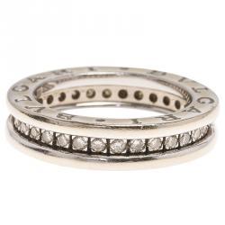 bvlgari bzero1 1band diamond white gold band ring size 48