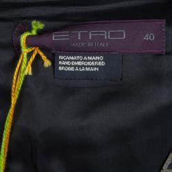 Etro Multicolor Silk Embellished Waist Detail Sleeveless Dress S