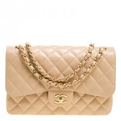 3a558c189fe Chanel Beige Quilted Caviar Leather Jumbo Classic Double Flap Bag