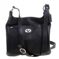 480d02f59fe5 G0832-F13010 Coach Black Leather Turnlock Crossbody Bag ...