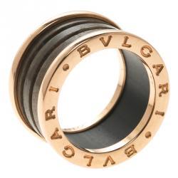 bvlgari bzero1 brown marble 18k rose gold ring size 50