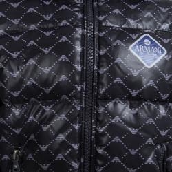 جاكيت أرماني بيبي أزرق كحلي مطبوع بالشعار منفوخ 6 أشهر