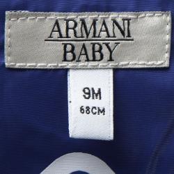 جاكيت أرماني بيبي أزرق بالشعار المطبوع منفوخ 9 أشهر