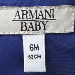 جاكيت أرماني بيبي أزرق بالشعار المطبوع منفوخ 6 أشهر