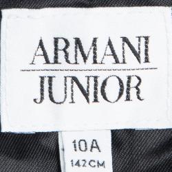 جاكيت أرماني جونيور ساتان أسود أجزاء قطيفة مزينة 10 سنوات