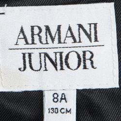 جاكيت أرماني جونيور ساتان أسود أجزاء قطيفة مزينة 8 سنوات