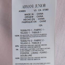 فستان أرماني جونيور وردي فاتح بطيات بلا أكمام وبحزام 12 سنة