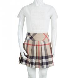 933c1b4775 Burberry Children Beige Novacheck Cotton Pleated Mini Skirt 12 Yrs