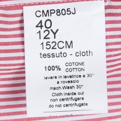 قميص سيزار باشيوتي مخطط أحمر وأبيض بأكمام طويلة وأزرار أمامية 12 سنة