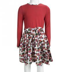 CH Carolina Herrera Red Cotton Contrast Floral Print Long Sleeve Dress 8 Yrs