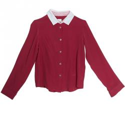 8a0b5830e57076 Fendi Dark Pink Contrast Collar Button-Down Shirt 8 Yrs