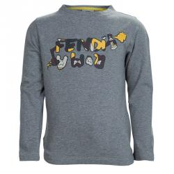 a9b0e3b272ca3f Fendi Grey Graphic Print Long Sleeve Crew Neck T-Shirt 5 Yrs
