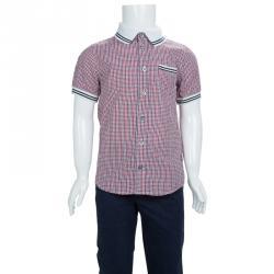88d2a6c3 Gucci Multicolor Checked Cotton Buttondown Short Sleeve Shirt 6 Yrs