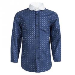 0fb6713a Gucci Blue Diamond Printed Contrast Collar Long Sleeve Shirt 6 Yrs