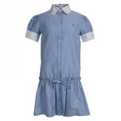 Ralph Lauren Blue Cotton Drop Waist Shirt Dress 7 Yrs