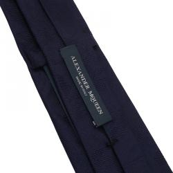 Alexander McQueen Navy Blue Tonal Floral Jacquard Silk Tie