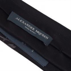 Alexander McQueen Black Flower Printed Silk Tie