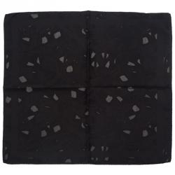 Alexander McQueen Black Silk Pocket Square