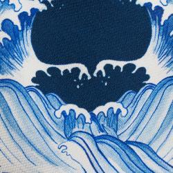 Alexander McQueen Blue & White Waves Print Silk Tie