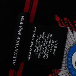 Alexander McQueen Black Military Skull Badges Print Silk Pocket Square