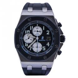 10d4fe1ce Audemars Piguet Black Stainless Steel and Rubber Royal Oak Offshore Men's  Wristwatch 44MM