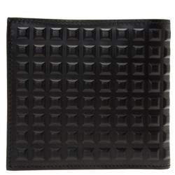 Balenciaga Black Leather Grid Square Wallet