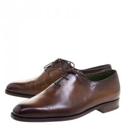 Berluti Brown Leather Alessandro Lace Up Oxfords Size 41
