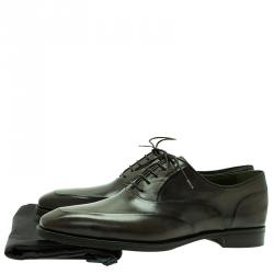 Berluti Green Leather Lace Up Oxford Size 43.5