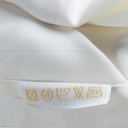 Brioni Off-White Herringbone Striped Long Sleeve Buttondown Cotton Shirt M