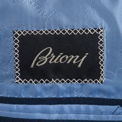Brioni Blue Pinchecked Wool Suit L