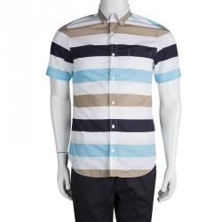 Burberry Brit Colorblock Striped Cotton Short Sleeve Shirt S