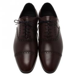 Burberry Brown Brogue Leather Markwell Lace Up Oxfords Size 43
