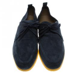 Burberry Navy Blue Suede Tobias Loafers Size 44