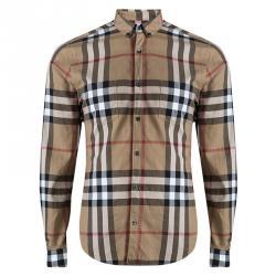 0c0f128e760135 Burberry Brit Brown Nova Check Long Sleeve Button Front Shirt M