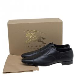 Burberry Black Leather Cap Toe Lace Up Oxfords Size 43