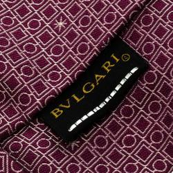 Bvlgari Purple Silk Euclidea Pattern Seven Fold Tie