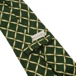 Bvlgari Green and Beige Printed Silk Tie