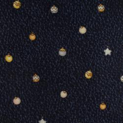 Bvlgari Navy  Blue Ornaments Printed Silk Tie