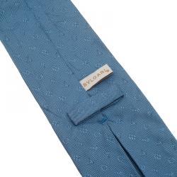 Bvlgari Blue Logo Silk Tie