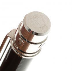Cartier Black Lacquer Palladium Plated Santos De Cartier Ballpoint Pen