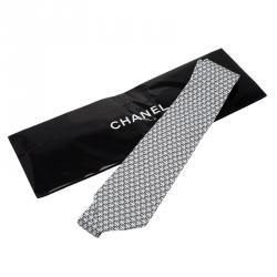 Chanel Monochrome CC Print Silk Tie