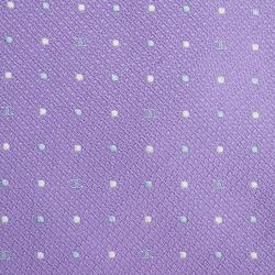 Chanel Lilac Polka Dot CC Logo Silk Tie