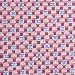 Chanel Burgundy Blue CC Logo Printed Silk Tie