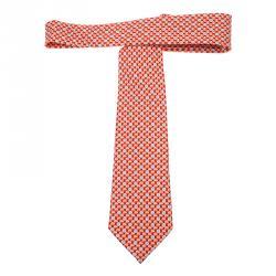 Chanel CC Reddish Orange Printed Silk Tie