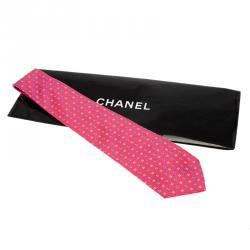 Chanel CC Pink & Blue Textured Silk Tie