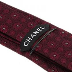 Chanel CC Burgundy Textured Silk Tie